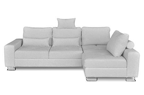 Windsor & Co Droit Convertible Canapé d'Angle, Tissu, Gris Clair, 260 x 18 x 87 cm