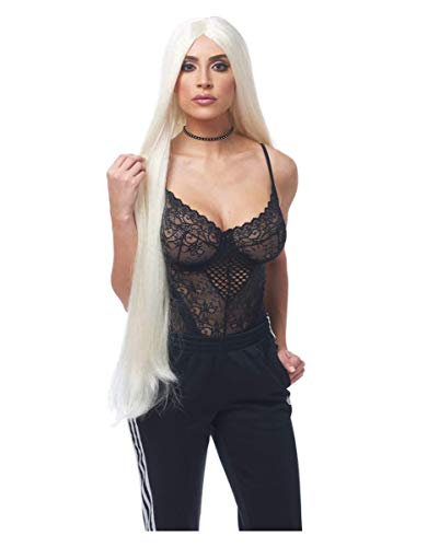 Horror-Shop Extra Lange Blonde Perücke Kim für Halloween & Faschings Kostüme