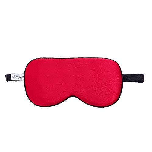 ZIMASILK 100{894f6aefc8660b2d95d370de2838f264e4c36a61fe2ee0e69f6abd241f7438da} Seide Schlafbrille leicht - verstellbare Augenbinde für Reise und Zuhause Schlafen - Reine Maulbeerseide Atmungsaktiv Augenmaske mit Samtbeutel(Rot)