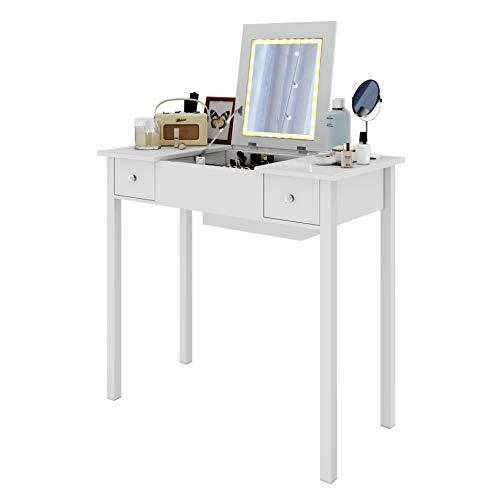 Woltu mb6040ws tavolo da trucco organizer per cosmetici toeletta specchiera con specchio luce di led senza sgabello tavolino scrivania porta pc in legno bianco