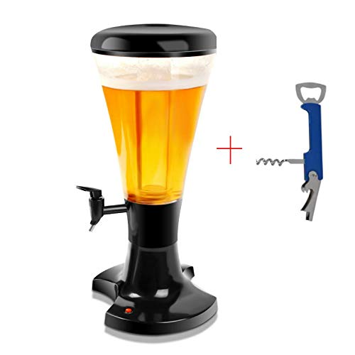 Luxurious Necessities Beer Dispenser with Light and Ice Tube Mouth Beverage Juice Tower and Multi Opener (Black, 3L)