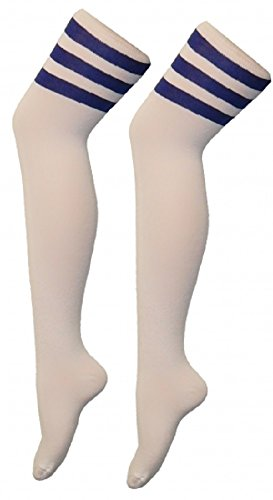 Momo&Ayat Fashions Unisex Herren Damen Mädchen Jungs über Knie Schiedsrichter Socken Sport oder Fancy Dress Rugby Fußball (Onesize (Schuhgröße 32-34), Weiß mit blauen (Fußball Fancy Dress Kostüme)