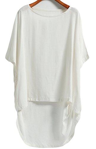 Vogstyle Femme T-Shirt Lin Loose Col Arrondi Style-1 Blanc