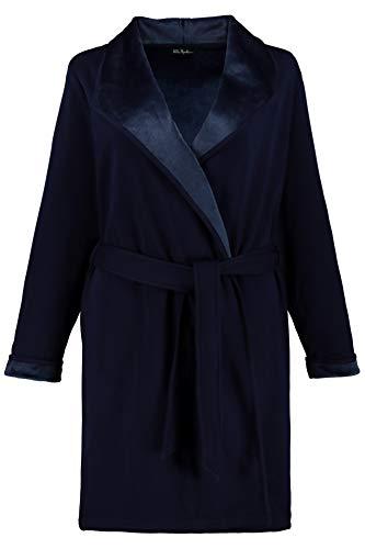 Ulla Popken Damen große Größen bis 64, Bademantel, außen Jersey & innen Fleece, offene Form, Stehkragen, breiter Spatenkragen, dunkelblau 54/56 720853 70-54+ - Plus Länge Größe Bademode