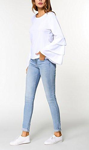 Camicia Donna Blusa Da Cerimonia Elegante Manica Lunga Maniche Tromba Casuale Maglietta Autunno A Pieghe Rotondo Collo Unique Top Ragazze Puro Colore Primavera T-Shirt Slinky Bianco