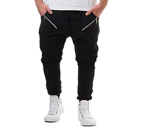 rt/Jogging-Hose Lang Club Pants Sporthosen Männer Hose Mit Reißverschluss Präsentationshose Schwarz Weiß Streifen ()