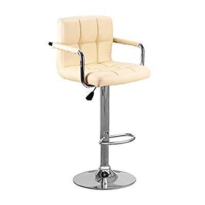 Neotechs® Cream Cuban & Arms Chrome Gas Lift Swivel Faux Leather Kitchen Breakfast Bar Stool - low-cost UK bar stool shop.