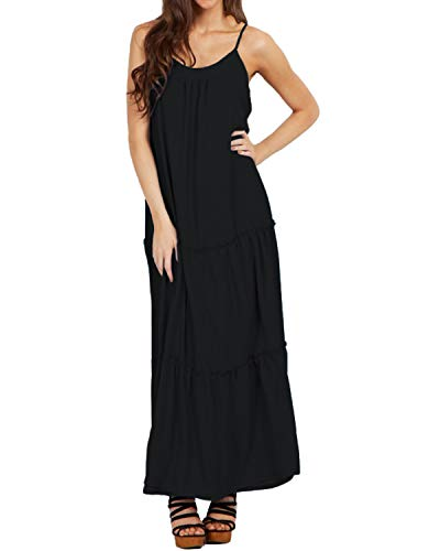 ACHIOOWA Sommerkleid Damen Maxikleid V-Ausschnitt Ärmellos Lang Dress Oversize Cocktail Strandkleider Schwarz-A19378 S