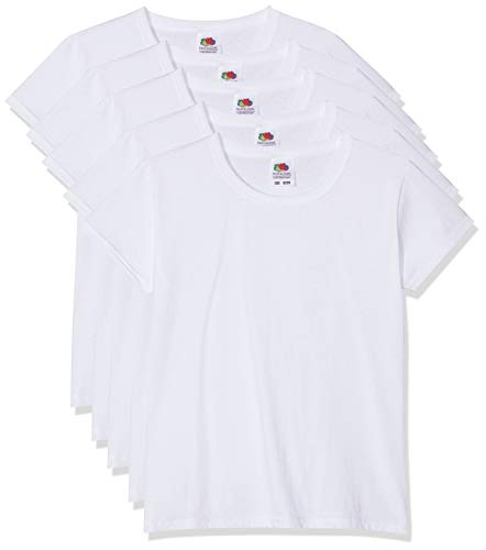 5 Fruit of the loom Kinder T-Shirts Valueweight 104 116 128 140 152 Diverse Farbsets auswählbar 100{f6e9adb57bcf561bbb93e397c657eefb19c8dc1c374db0453eef1958883cf648} Baumwolle (140, Weiss)