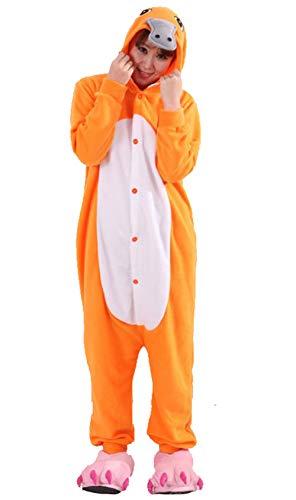 DATO Pyjama Tier Onesies Orange Schnabeltier Erwachsene Kigurumi Unisex Cospaly Nachtwäsche für Hohe 140-187CM