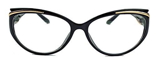 kleinere filigrane Damen Nerd Brille 50er 60er Jahre Cat Eye Brillengestell Klarglas CN81 (Schwarz)