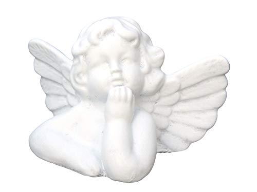 Tiefes Kunsthandwerk Steinfigur Engel klein – Antik-Weiss, Figur Deko Grabschmuck Garten Putte