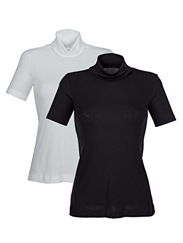 HERMKO Damen Blazershirts 1xweiß 1xschwarz