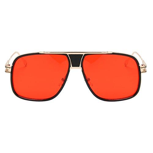 Unbekannt Sonnenbrille Fliegerbrille Nerdbrille Pornobrille Brillen Verspiegelt Gläser - Goldrahmen Rote Linse