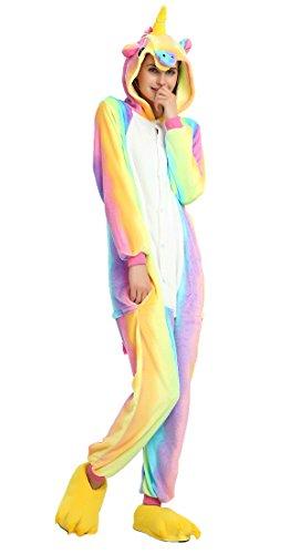 Imagen de pijamas de unapieza  youson girl® unicornio adulto pijamas unisexo adulto traje disfraz adulto animal pyjamas m altura 61.8inch 65.7inch / 158cm 167cm , vistoso  alternativa