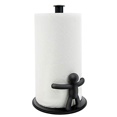 Papierhandtuchhalter Humanoid schwarz Küche Papiertuchhalter Metall Papierhalter Haushalt Papiertuchhalter (Color : Black, Size : 36 * 17cm)