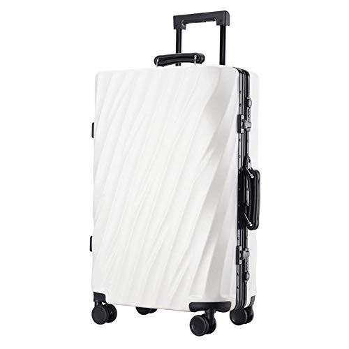 YUNY ABS Hartschalen-Reisetrolley Koffer mit 4 Rädern, leicht, TSA-Zollschloss Business Reisetrolley Koffer 28\ verschiedene Farben, Weiß -