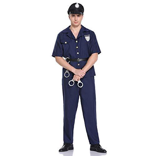 NiQiShangMao Police Officer Cops Kostüm für Erwachsene Frauen Männer Teen Mädchen Polizist Uniform Halloween Karneval Karneval Party - Piraten Mann Teen Kostüm