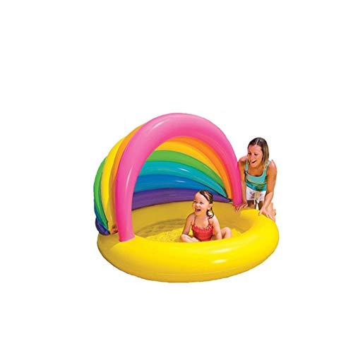 ZOUQILAI Baby-aufblasbarer großer Swimmingpool-Sandhaus-Pool-Kinderpool-Innen- und Swimmingpool im Freien mit dem Sonnenschirm-Sich hin- und herbewegenden Reihen-Berg