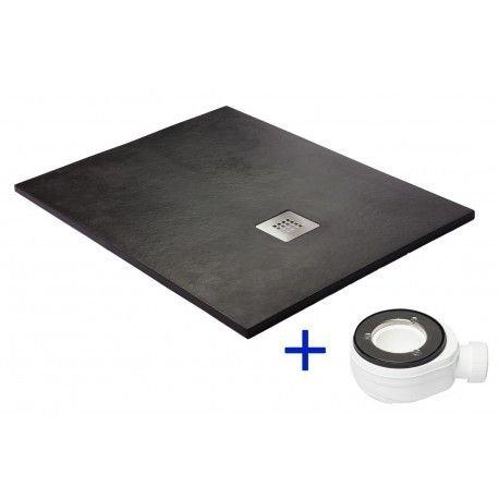 Duschwanne, Silex - Harz Duschwanne, flach schwarz graphit RAL 9005, Schwarz-Graphit, 90x100