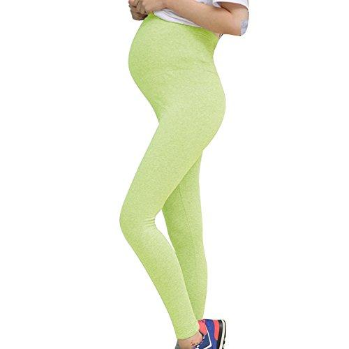 hibote Maternité Thin Summer Large Size Leggings Soft Modal Cotton Light Green/L