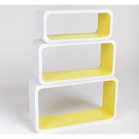 Estanterias Flotantes Diseño Moderno Cubos Para Pared con Forma de Cubo CD Retro Librero Blanco y Amarillo