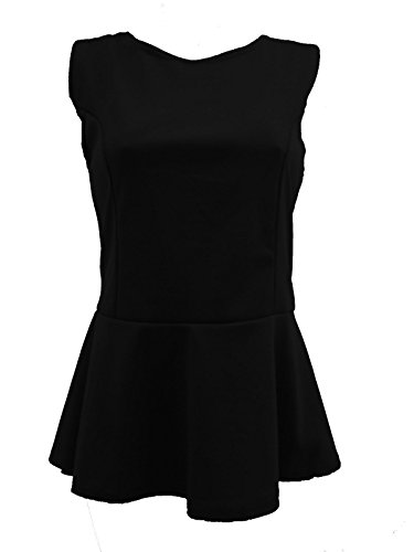 C44-Lush Clothing-Womens Peplum senza maniche Skater Top T-Shirt Canottiere Donna, taglia UK 8 – 26 Black
