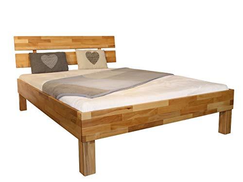 MeinMassivholz Massivholzbett/Holzbett Buche/Wildeiche/Nussbaum Typ Palma Made in Germany Doppelbett/Einzelbett versch. Größen 90x200 cm - 200x200 cm (Buche, 140x200 Komforthöhe)