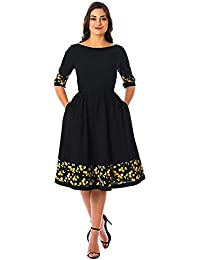 820d9ab07ad Kuldevi Fashion Women s Rayon Printed Fancy Frock Solid Fit and Flare  Skater Dress (Black