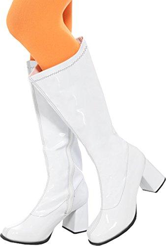 (60s Ladies Gogo Boots, Uk Size 6/ Us 9 White Large)