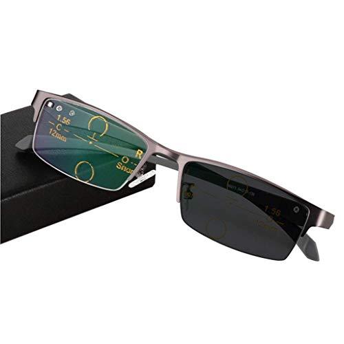 Jackson wang Reading Glasses Multi-Focus-Lesebrille, Übergang photochrome Progressive Sonnenbrille - Strahlenschutz/UV-Schutz, Farbwechsel im Freien, für Herren/Damen,Gray,+4