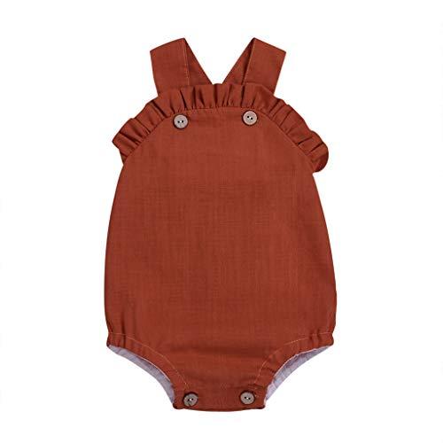 Julhold Sommer Neugeborenes Baby Mädchen Lässig Ärmellos Feste Baumwolle Strampler Rüschen Körper Kleidung Outfits 3-18 Monate