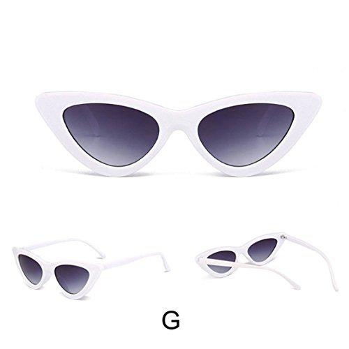 Loveso Frauen Mode Katzenaugen Shades Sonnenbrille integrierte UV-Süßigkeit-farbige Gläser (G, 5.0cm) (Glas Integrierte)