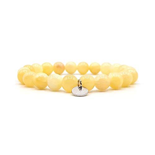 KARDINAL.WEIST Naturstein Perlenarmband aus Achat, Kraftstein Schmuck für Damen, Energie Armband, Yoga Armband (1 - Achat)