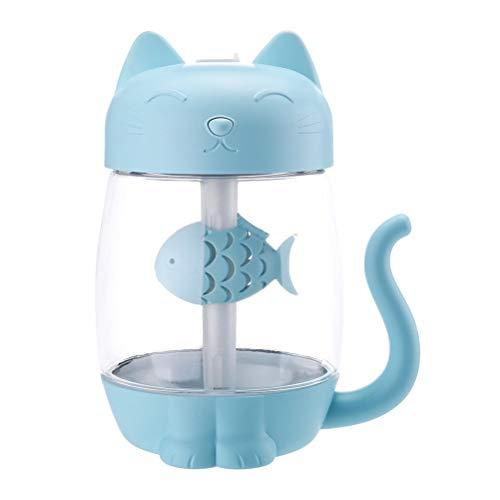 VORCOOL 3 en 1 USB Cat Humidificador de Aire Mini Humidificador Difusor de Aceite Esencial Purificador Atomizador con Ventilador de luz LED para el automóvil de Oficina en casa (Azul)