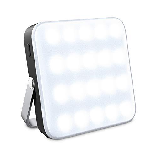 Luz lámpara Recargable para Camping, FLOUREON Cargador 10000mAh con Linterna, Banco de Alimentación con Luz de Emergencia para Linterna, 2 Salidas USB de Alta Velocidad, Blanco