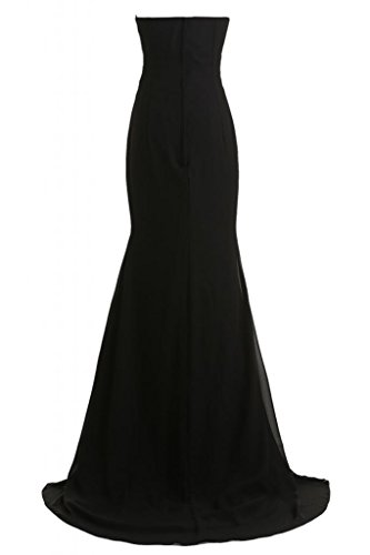 Toscana sposa Mermaid a forma di cuore Chiffon sera vestimento sposa giovane a lungo un'ampia Party lunghezza ball vestimento Nero