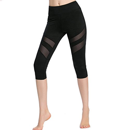 Capri Pants, Switchali Frauen Skinny Leggings Patchwork Mesh Yoga Leggings Fitness Sport Capri Hosen (Schwarz, S) (Tight Capri Antwort)