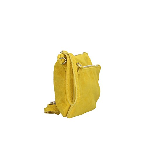 Chicca Borse Borsa a tracolla in pelle 24 x 17 x 4 100% Genuine Leather Giallo