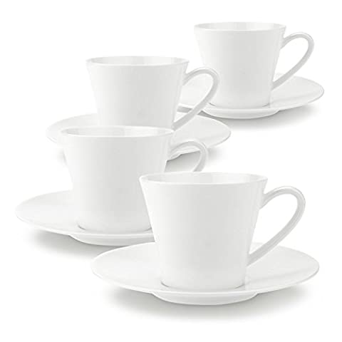 T4U 6 Ounce Good Harvest Coffee Cups and Saucers with Handle for Coffee Latt Mocha Cappuccino Espresso Tea Cups and Saucer High Quanlity Porcelain White sets of