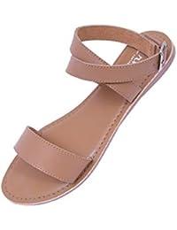 irnado Women's Tan Comfortable Casual Leather Flat Sandal for Women/Dailywear