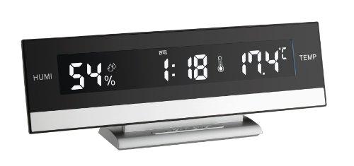 TFA 60.2011 reloj de repisa o sobre mesa Digital table clock Negro, Plata Rectangular - Relojes de mesa (1 pieza(s), 245 mm, 50 mm, 88 mm, 227 g, LED)