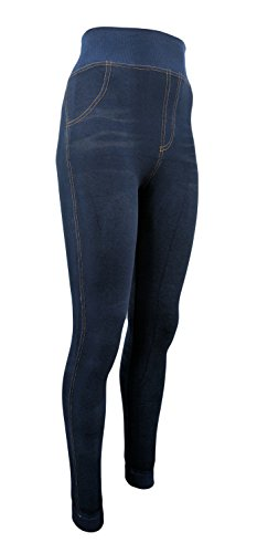 Damen Thermo- Winter- Leggings gefüttert - Jeans Optik in blau o. schwarz - Teddyfutter (40-44, Blau)