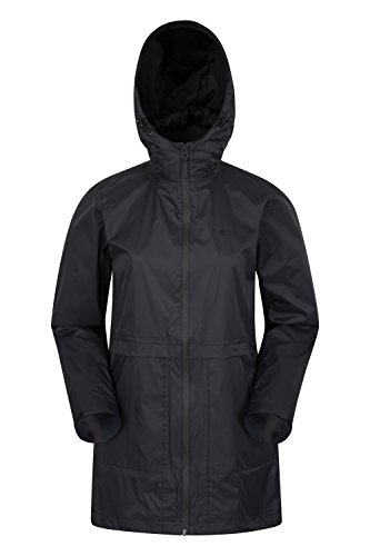 Mountain warehouse torrent rivestimento delle donne lunghe - cappotto impermeabile da donna, giacca leggera, tasche, cappuccio regolabile e polsini - per il campeggio nero 48