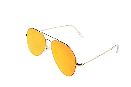 "eLight Shades ""Clooney-Lente Aviator/Pilot Occhiali da sole unisex, a specchio, XL (Oversize) Gold | Sunset-Gold Taglia unica"
