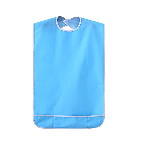 Lätzchen für Erwachsene Wasserdicht Kleidungschutz Bib Tuch Schürze mit Krümelfang, lätzchen ärmel abwaschbar Nylon schluss für rentner Opa Oma Behinderung Hilfe Pflege (50x80cm) -