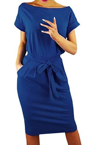 Ajpguot Damen Freizeit Kleid mit Gürtel Elegant Rundhals Midi Kleider Blusenkleider Ballkleid Festkleid Frauen Langarm Tasche Wickelkleider Abendkleider Partykleid (S, Blau 1) -