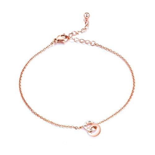 Gkmamrg Damen Fußkettchen Rose Gold, Edelstahl Fußkette mit Zirkon Ringe Anhänger Sommer Strand FußSchmuck für Frauen Mädchen