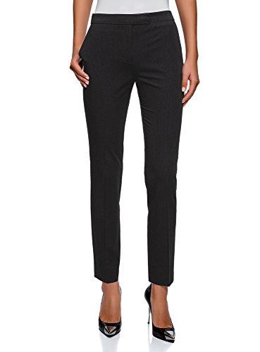 oodji Collection Mujer Pantalones Básicos Ajustados, Negro, ES 46 / XXL