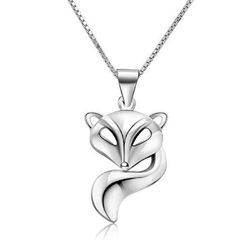 Poetic Charms 925 Sterling Silber Fuchs Tier Damen Anhänger Halskette 45+5cm Verlängerungskette Schmuck